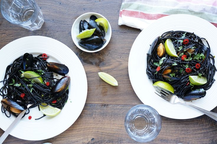 Черная паста с мидиями, пошаговый фото рецепт