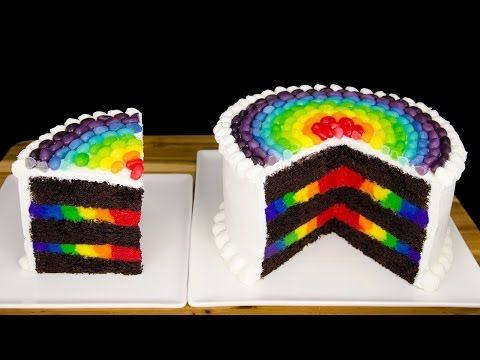 Rainbow Cake with Rainbow Jelly Beans