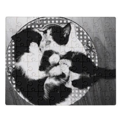 Black and White Kittens Playing Jigsaw Puzzle - Xmas ChristmasEve Christmas Eve Christmas merry xmas family kids gifts holidays Santa
