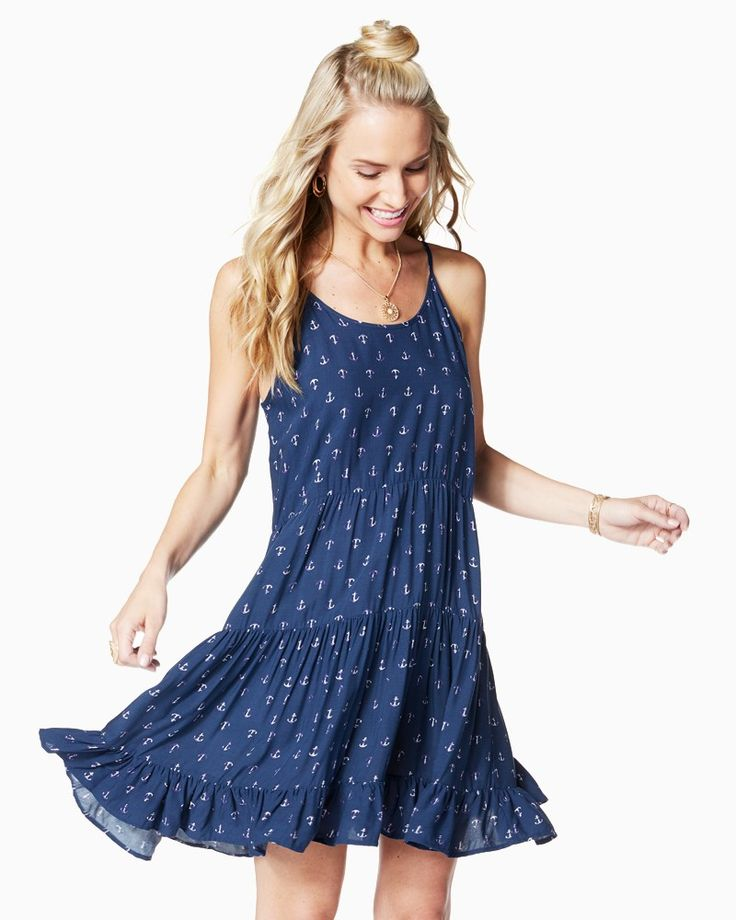 $25 @ Charming Charlie 2017 Fashion trends! A flirty tiered dress features a ruffled hem and nautical anchor print that makes it perfect for days at the beach or brunch with the girls *affiliate