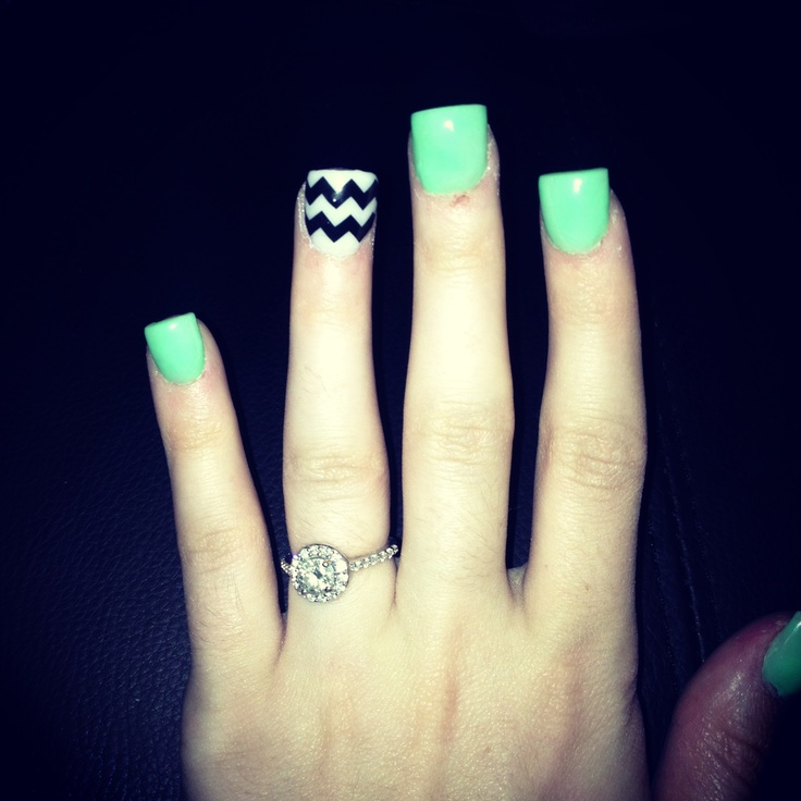 #mint #chevron #nails #acrylicnails