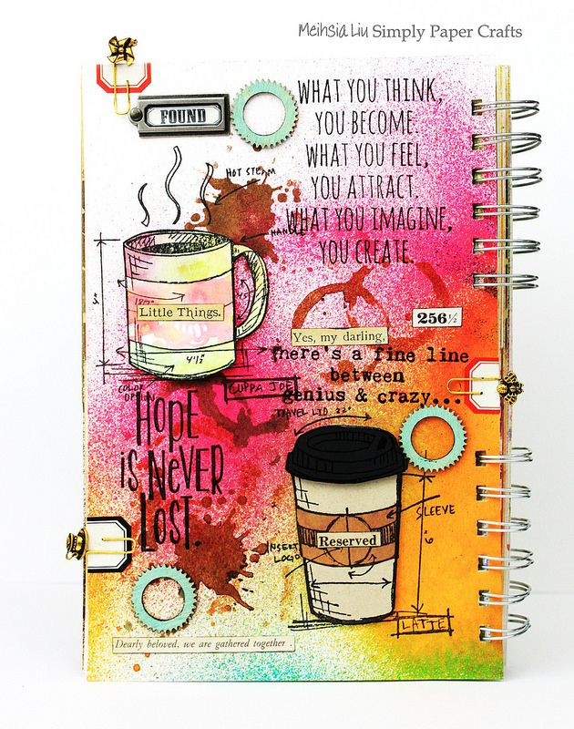 Meihsia Liu Simply Paper Crafts Mixed Media Art Journal Drink Coffee Simon Says Stamp Tim Holtz 1