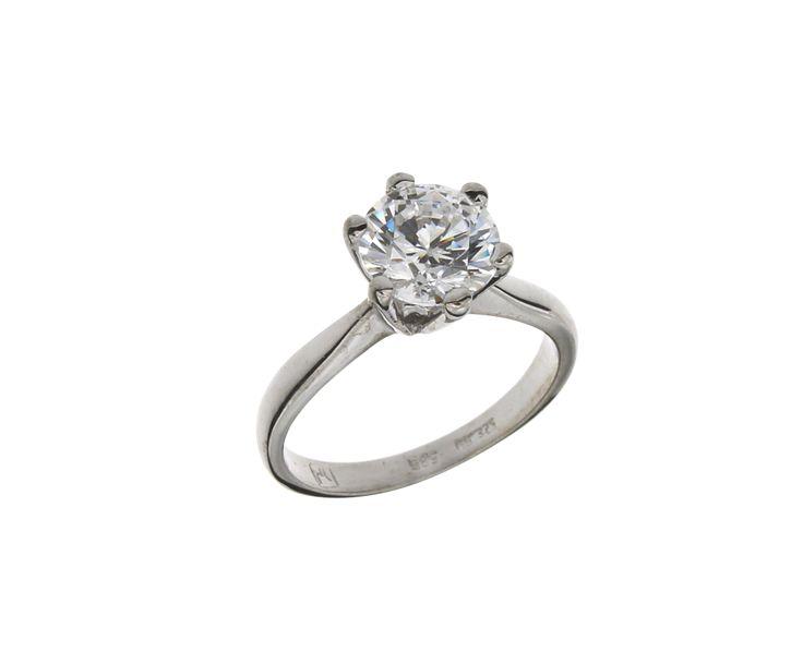 Δαχτυλίδι Μονόπετρο Αμερικέν σε λευκόχρυσο 14Κ με ζιργκόν 26814