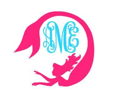 Mermaid Monogram instant download cut file - SVG DXF EPS ps studio3 studio (monogram font sold separately)