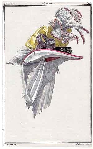 Magasin des Modes Nouvelles 1787 cahier n°26, plate n°3, Defraine, Hat