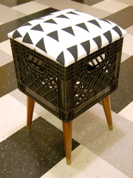 diy: milk crate turned stool