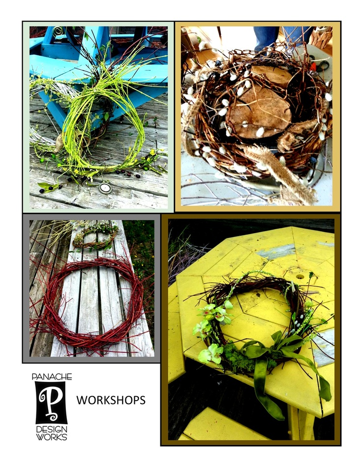 Made at our Welcoming Wreath Workshop.  Visit our website, http://panachedesignworks.ca/ to register for future workshops!