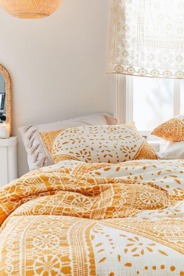 Eva Tile Crinkle Gauze Duvet Cover Bedding And Curtain Sets