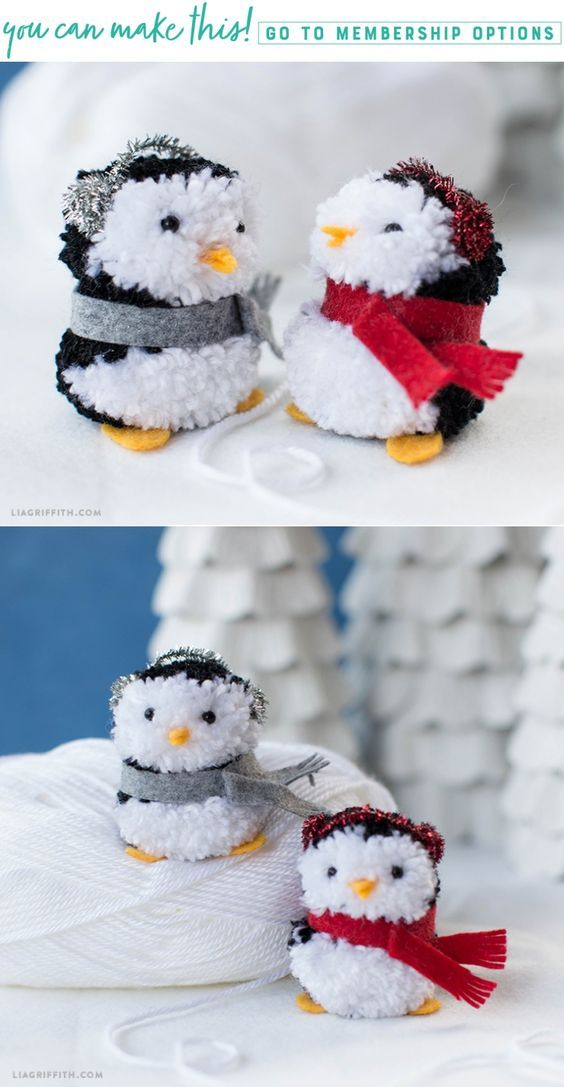 Make Your Own Pom Pom Penguins - Lia Griffith - www.liagriffith.com #pompom #pompoms #felt #feltcute #diyornaments #diyholiday #diyholidays #madewithlia