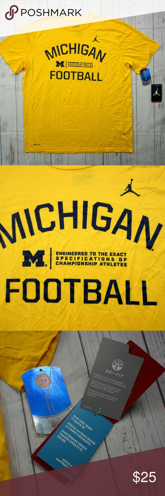 "Michigan Wolverines Football Jumpman Logo T-Shirt Michigan Wolverines Football Jumpman Logo Dri-Fit Jordan Men's XL - NWT  Brand: Jordan Size: Men's XL Material: Polyester (DriFit)  Detailed Measurements: (Front Side of Garment has been measured laying flat on a table)  Measurements  Sleeves:             9.5"" inches Chest:                22.5"" inches Length:              29.5"" inches  Ships in 1 business day or less from a clean and smoke free environment. Jordan Shirts Tees - Short Sleeve"