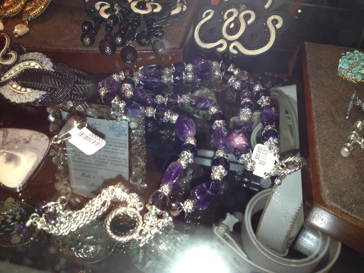 Purple Amethyst necklace with tassel drop front