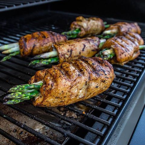 "Savory chicken-wrapped asparagus by Fit Men Cook will blow up your taste buds, not your diet. Energize poultry and veggies with Kevin's ""cup of joe"" coffee seasoning. Fire up the grill and go paleo. Like if you're all about that protein. Share with a friend who needs meal plan inspiration."