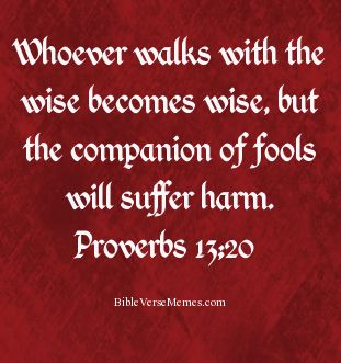 Proverbs 13:20 Whoever walks with the wise becomes wise, but the companion of fools will suffer harm.