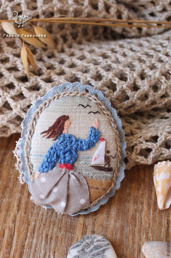 """Текстильная бохо брошь с вышивкой """"У моря"""" textile brooch, embroidery"""