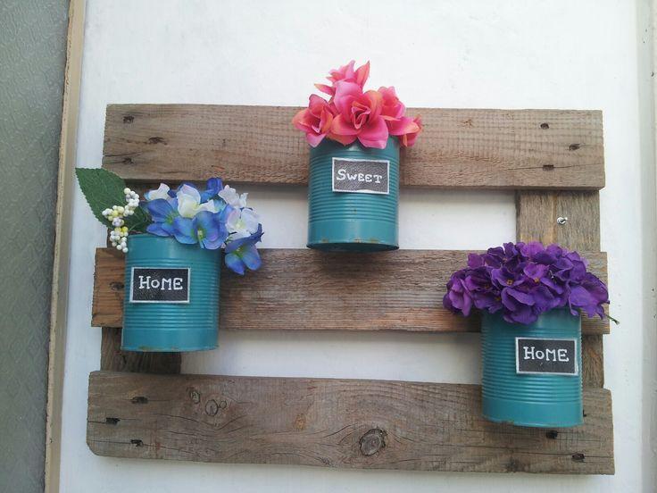 Porta fiori pallet shabby fai da te giardino DIY garden wall folwers
