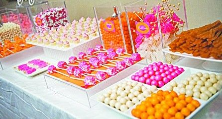 Great Simcha Ideas | Fun Sweet Bar.  The color of the sweets can be coordinate with the events color story