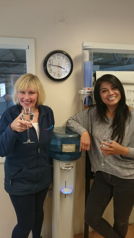 Get Sloshed on Water and Go Sober for October is the Love Water team slogan, as we prepare ourselves for THE month!!!!...Here team members Michelle and Dawna stand next to the Love Water Cooler, wine glasses sloshed with water! To donate a spare £1.00 (or more?!), please go to:- https://www.gosober.org.uk/team/lovewater  http://www.lovewater.com