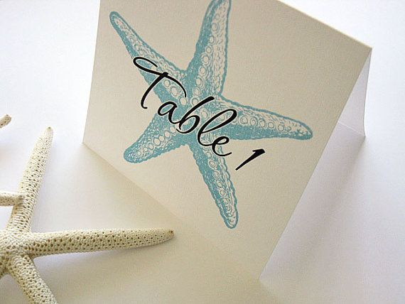 Starfish Wedding Table NumbersBeach by PaperNotions on Etsy, $2.75