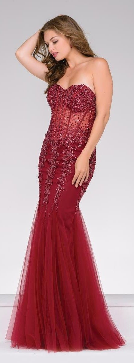 JOVANI • In Burgundy Mermaid-Style Chiffon Funnel Skirt w. Beaded Bodice, Slight See Through Middle of Strapless Gown • #5908.