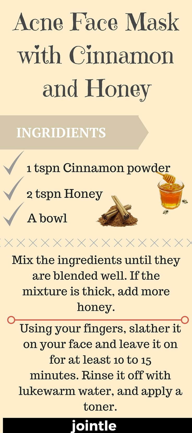 Face Mask with Cinnamon and Honey will help you to get rid off acne=)