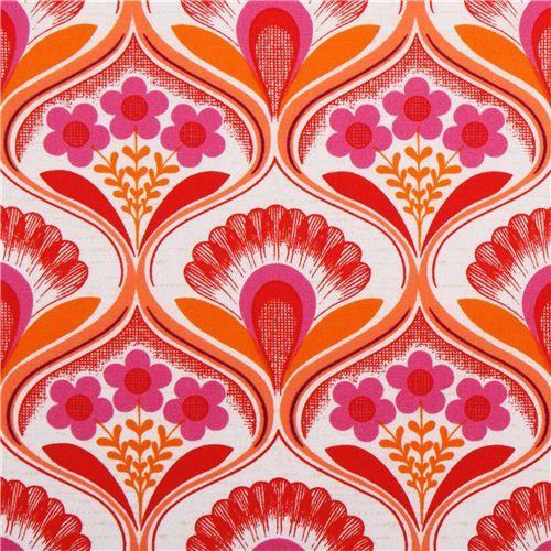 Retro Blumen Tapete Canvas Stoff pink Robert Kaufman 1