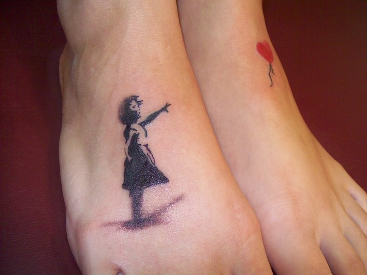My Banksy tattoo girl chasing her balloon | Dig it