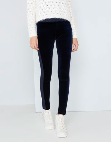 Navy trousers from Bershka decorated with velvet.  #colorblock