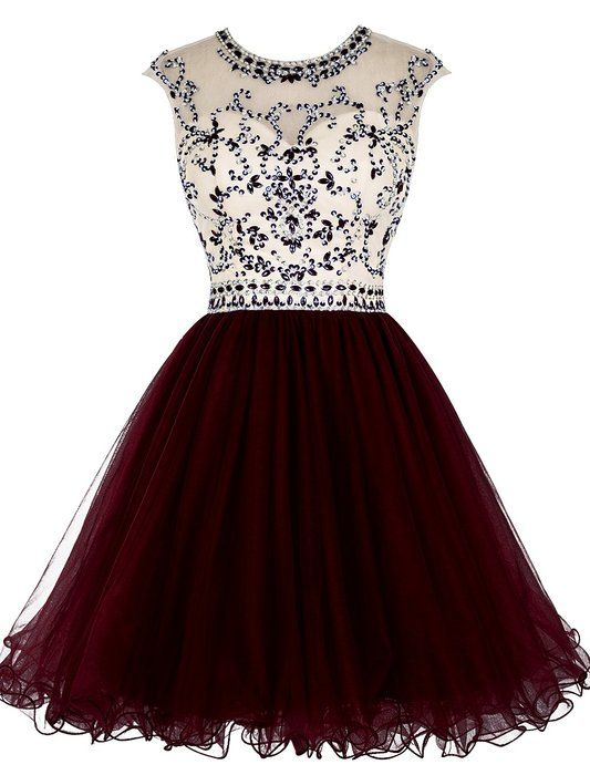 Tideclothes Short Beading Prom Dress Tulle Homecoming Dress Hollow Back Burgundy US8