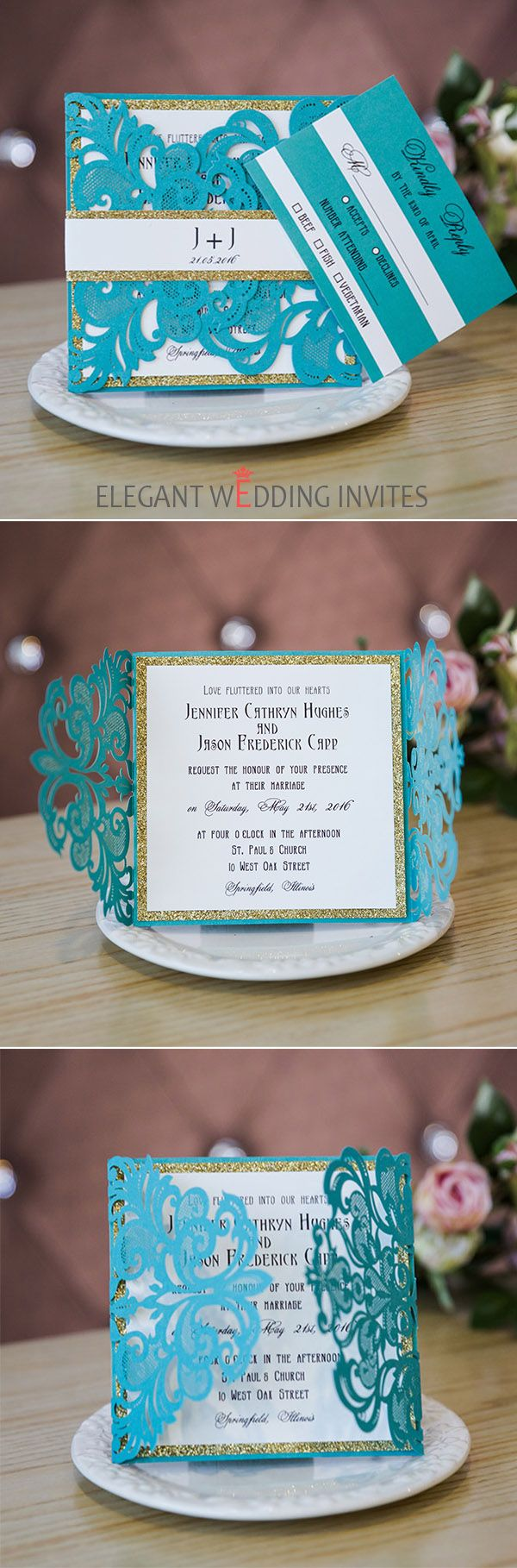 marine green laser cut wedding invitations with glittery bottom cards and bands