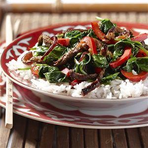 Oosterse spinazie met rundvlees
