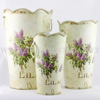 """Vaso contenitore in latta decoupage lavanda """"Lillac"""""""