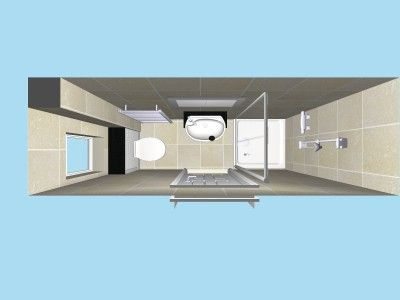 Compact Ensuite in plan view in 3D