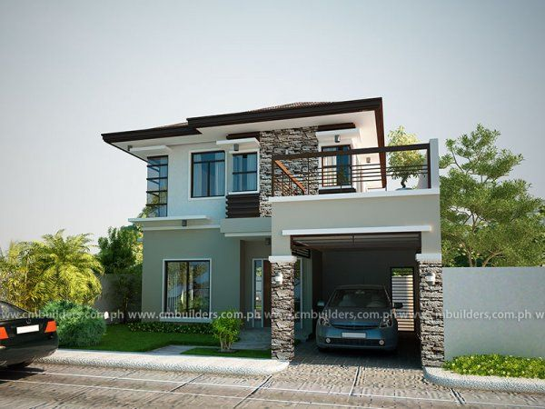 W3713 V1 Affordable Contemporary Modern home plan with family