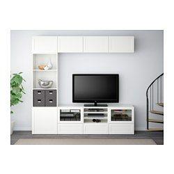 IKEA - BESTÅ, TV-Komb. mit Vitrinentüren, Hanviken/Sindvik Klarglas weiß, Schubladenschiene, Drucksystem, , Durch die integrierten Drucköffner sind Knöpfe oder Griffe überflüssig – leichter Druck genügt.Geräte lassen sich auch bei geschlossenen Türen steuern, da die Fernbedienung durch das Glas funktioniert.Wandschränke mit geringer Tiefe benötigen wenig Platz und nutzen Wandfläche optimal - z.B. über dem Fernsehgerät.Dank mehrerer Öffnungen auf der Rückseite der TV-Bank lassen sich Kab...