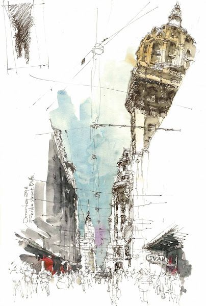 The Florida is a pedestrian street of the City of Buenos Aires - Urban sketchers: Architectural Drawings, Urban Sketchers, Urban Sketches, Sketchbook, Sketch Books, Architecture