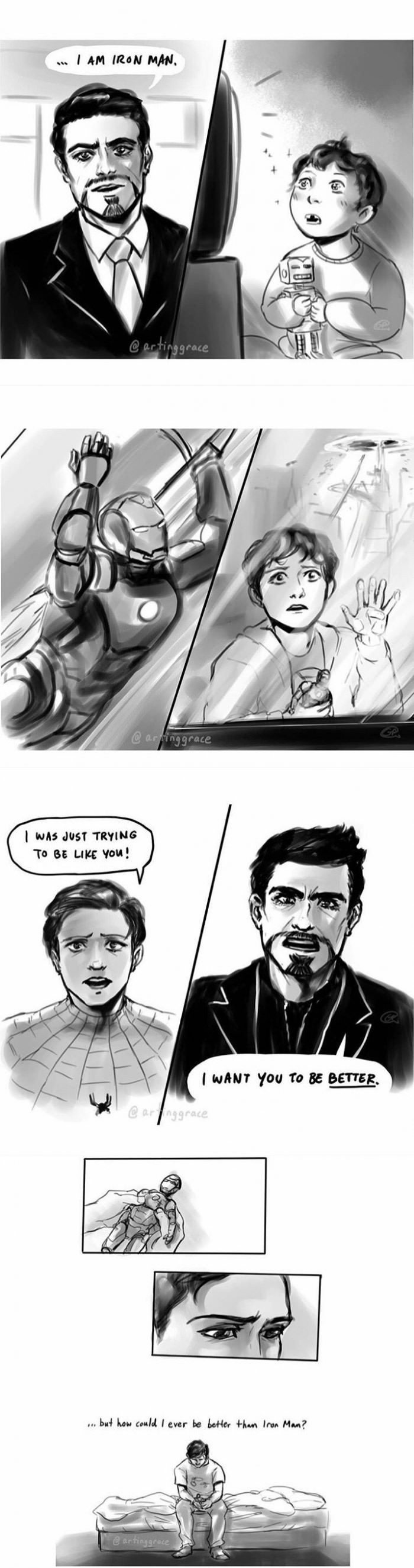 """artinggrace : [2008-2012-2017]  so its confirmed canon peter was 5 when tony said""""i am iron man"""", he was 9 when battle of new york happened and after a lifetime of hero worshipping a larger than life figure its gotta be tough to suddenly have him be your mentor (especially when said hero figure doesnt consider himself heroic and really hates himself)"""