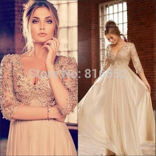 Find More Evening Dresses Information about 2015 New Design Sexy Long Chiffon Evening Dresses V Neck Beaded Floor Length Formal Prom Party Gowns Vestido De Festa QA346,High Quality gowns cheap,China gowns for pregnant women Suppliers, Cheap gown cover from Julia wedding dress co., LTD on Aliexpress.com