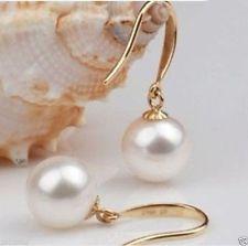 charming 9-10mm Akoya white pearl Earrings 14K