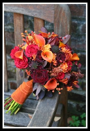 Autumn wedding bouquet, in shades of orange, red, burgundy and rust, calla lilies, Black Magic roses, Charlotte roses, scabiosa, berries, kangaroo paws and seeded eucaluptus: