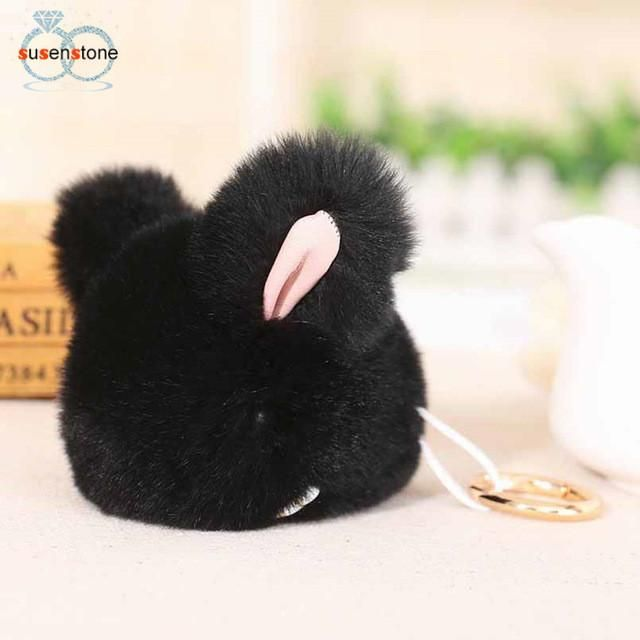 SUSENSTONE Rabbit Faux Fur Tassel Keychain Bag Handbag Key Ring Car Key Pendant