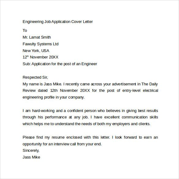 Cover Letter Engineering Electrical