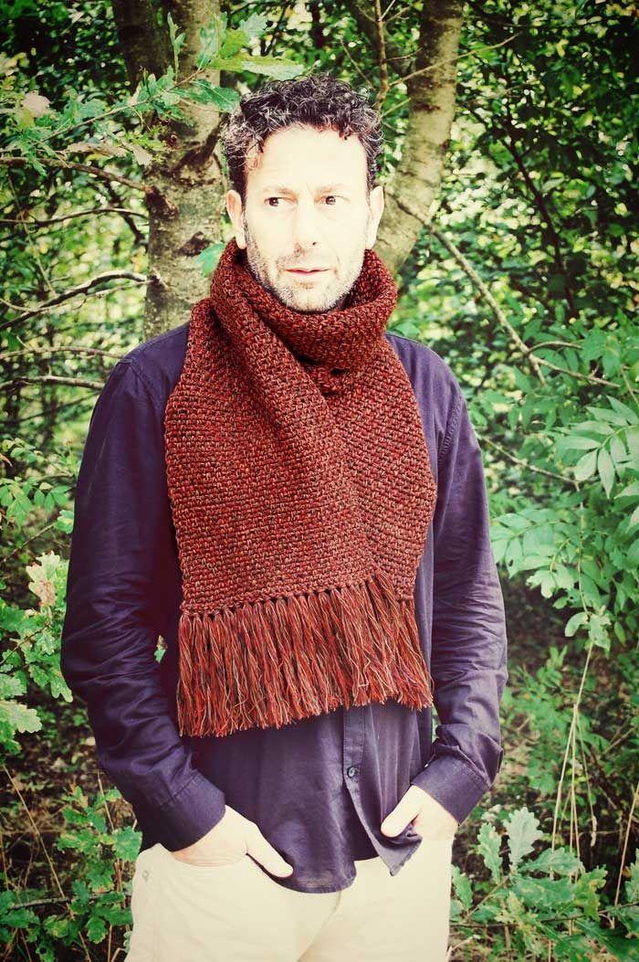 Stola sciarpa unisex lana marrone cioccolato beige rosso mattone melange con frange lunghe uncinetto autunno : Sciarpe, foulard, cravatte di filoecoloridiila #stole #scarf #unisex #wool #country #boho #crochet #fall #winter