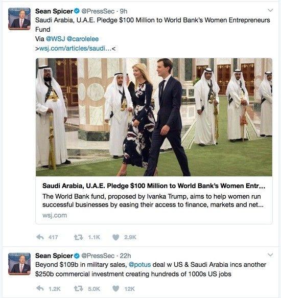 Sean Spicer promotes Saudi Arabia donation to Ivanka Trump Fund