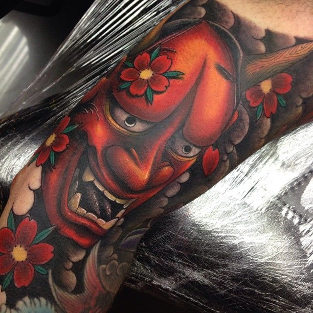 Hannya mask on the inside of the bicep. Tattoo by Craig Holmes @ iron horse…