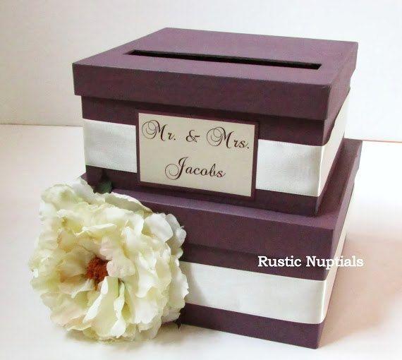 Wedding Card Holder Plum And Ivory Money Box