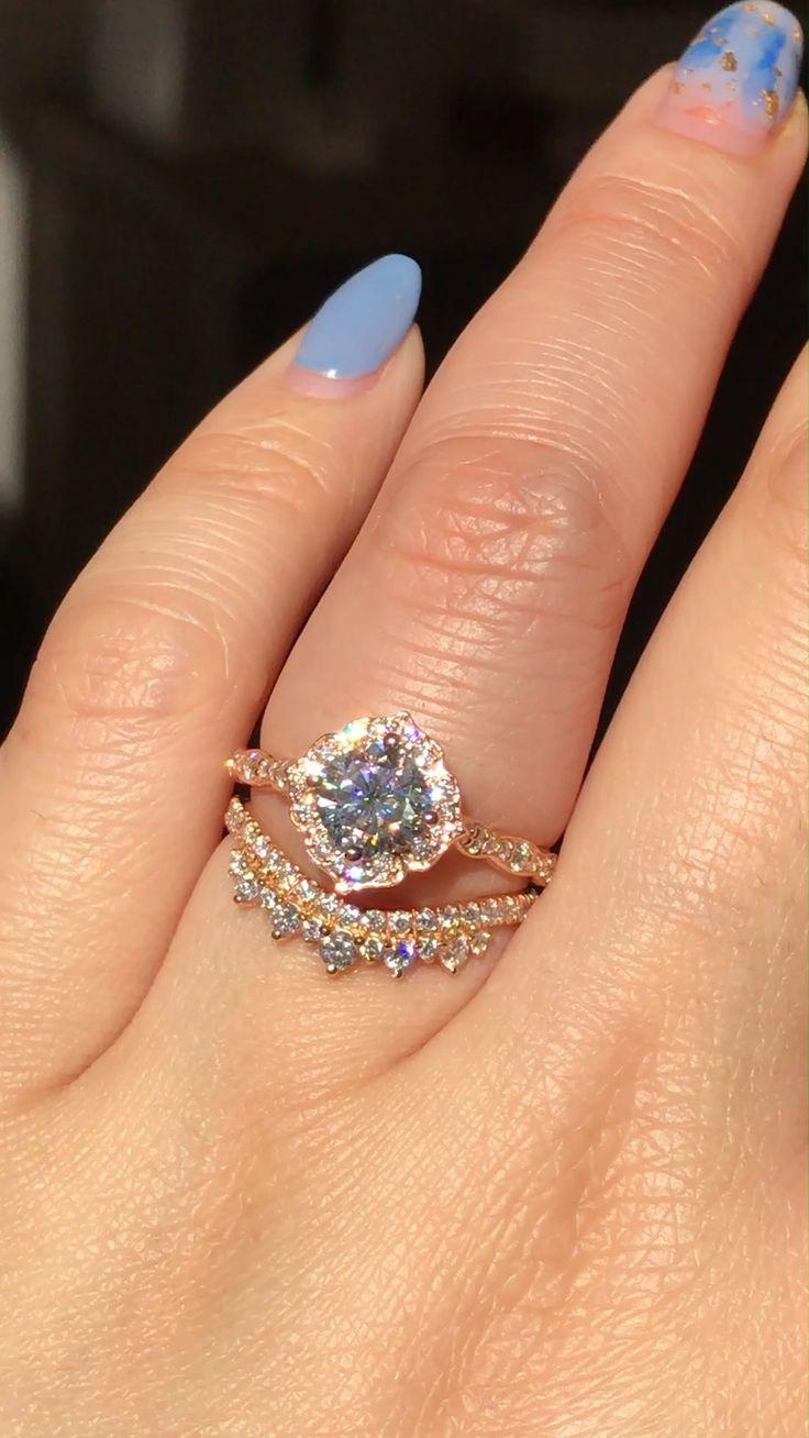Pink tourmaline Ring set 14K rose gold diamond wedding