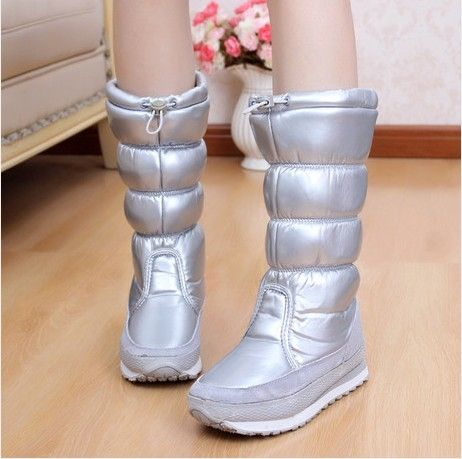 26.69$  Buy here  - 3.28 Anniversary Sale Price Woman Boots Winter Waterproof Anti-Slip PU High Leg Warm Shoes Ski Snowboots Female Zapatos Mujer