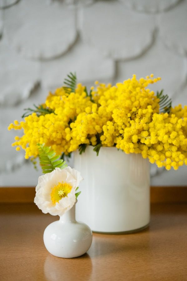 cute + simple yellow and white table decoration -- Scandinavian Wedding Ideas