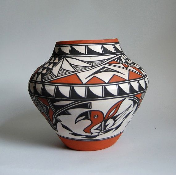 ACOMA Pottery Olla Hand-Coiled Parrot Design Vintage Home Decor Accessories Rustic Decor Native American Tribal Art Wedding Gift: