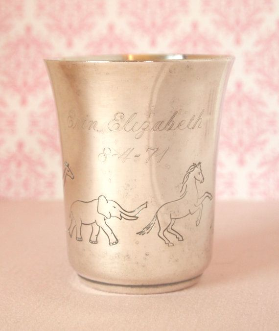 Vintage Silver Baby Cup  Engraved 1971 Erin  Elizabeth Silverplated Childs Cup with Animals by Napier | Home Decor  by HouseofLucien